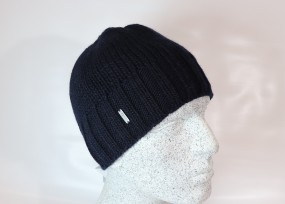 Woll - Beanie mit Fleece in dunkelblau