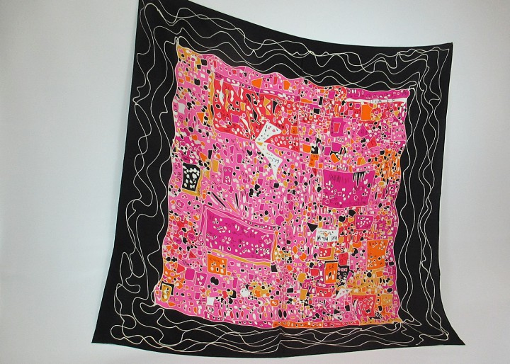 Seidentuch abstraktes kleines Muster in schwarz - pink - orange