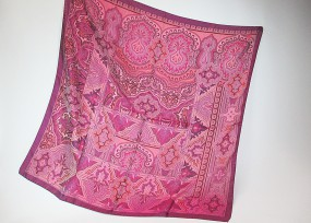 Seidentuch mit Paisleymuster in lila - pink - rose